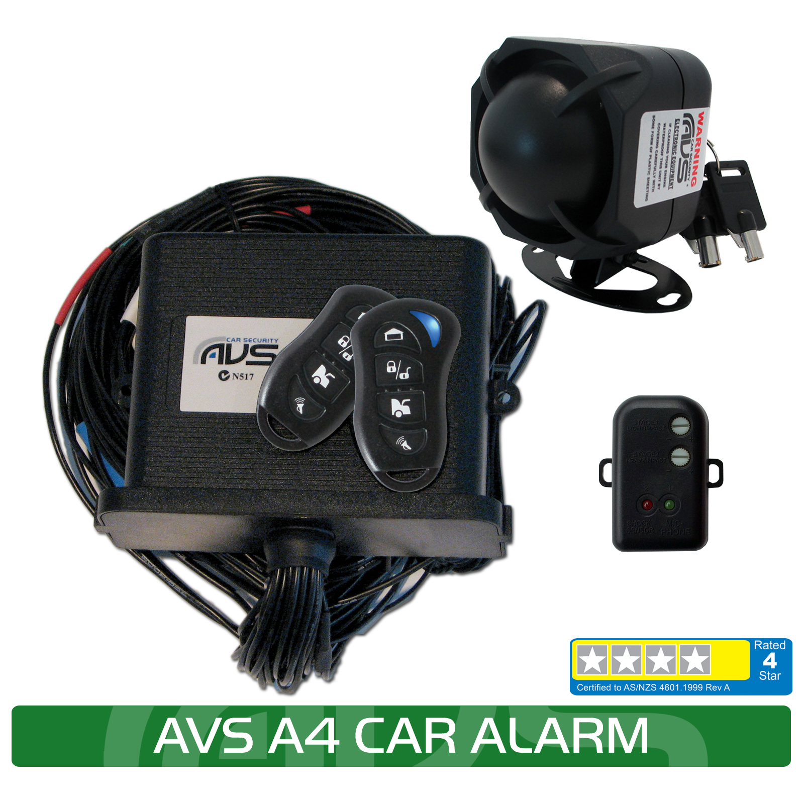 AVS A4 feature with shock avs 3010 car alarm avs car security 0800 438 862  at gsmportal.co